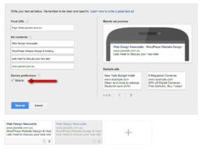 28 Campaign Management – Google AdWords Tick Device preference Mobile