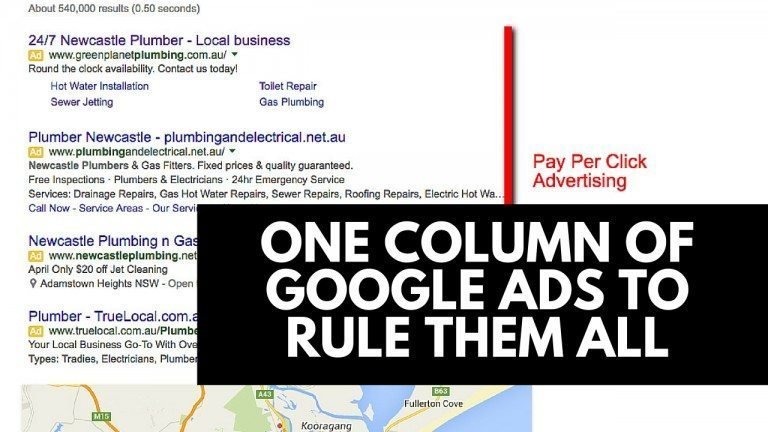 one column of google ads to rule them all