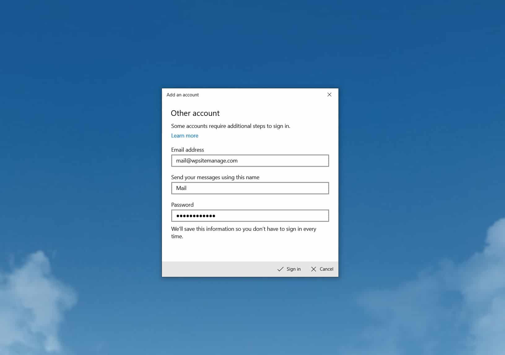 Email Setup for Mail for Windows 10 with Rackspace Mail - Jezweb