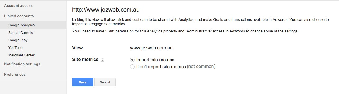 43-Account-Settings-–-Google-AdWords-Import-site-metrics-and-save
