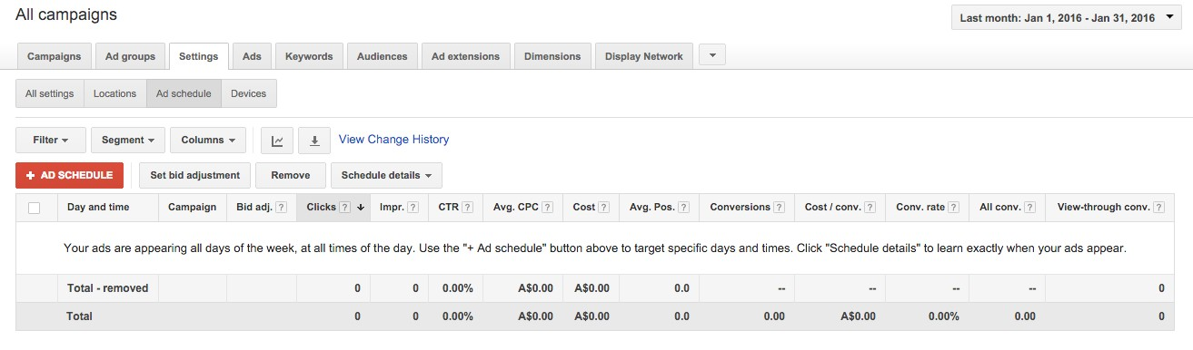 46-Campaign-Management-–-Google-AdWords-Click-onto-the-Settings-tab-and-then-Ad-schedule