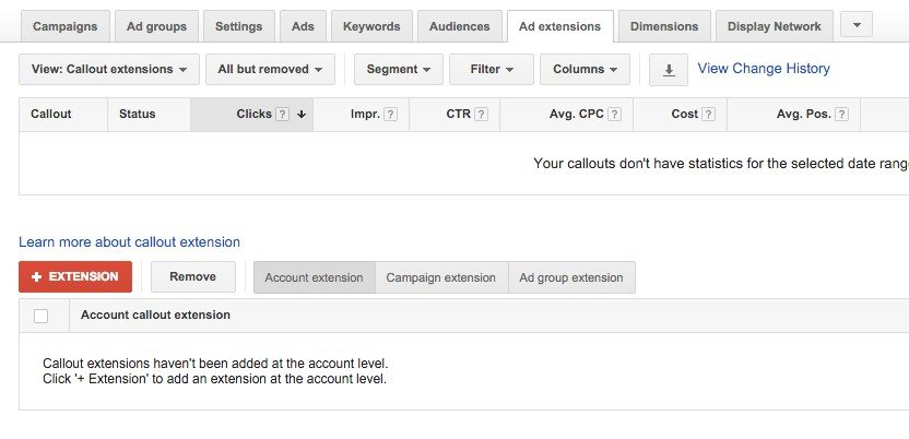54-Campaign-Management-–-Google-AdWords-Click-on-the-red-EXTENSION-button