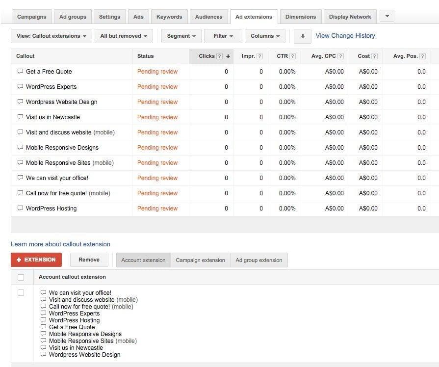 60-Campaign-Management-–-Google-AdWords-Callout-extensions-pending-review