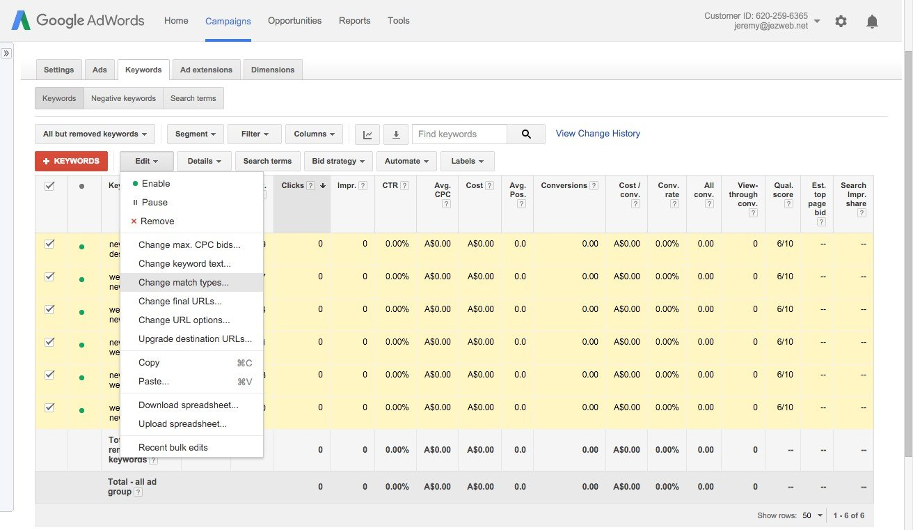 72-Campaign-Management-–-Google-AdWords-Select-keywords-and-edit-to-change-match-types