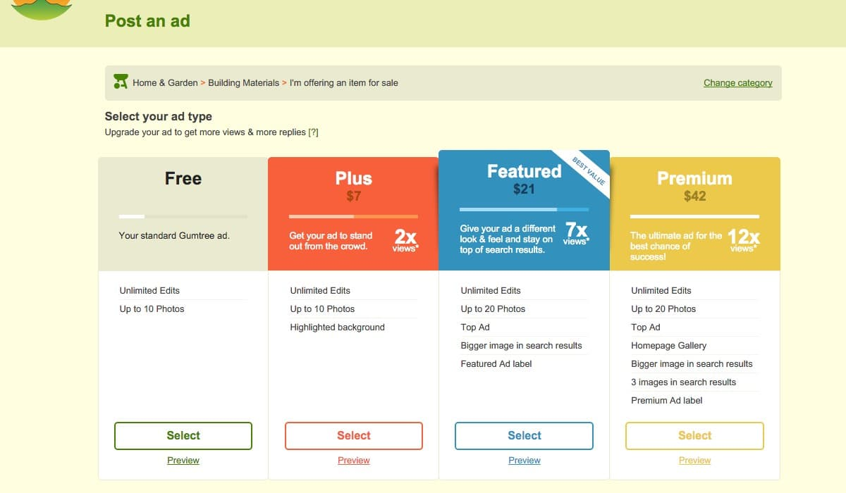 gumtree-05-choose-a-free-or-paid-ad