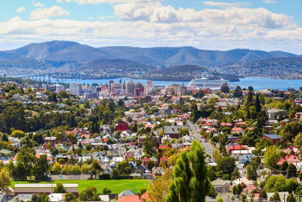 Hobart aerial view